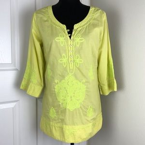 Soft Surroundings bright yellow embroidered tunic